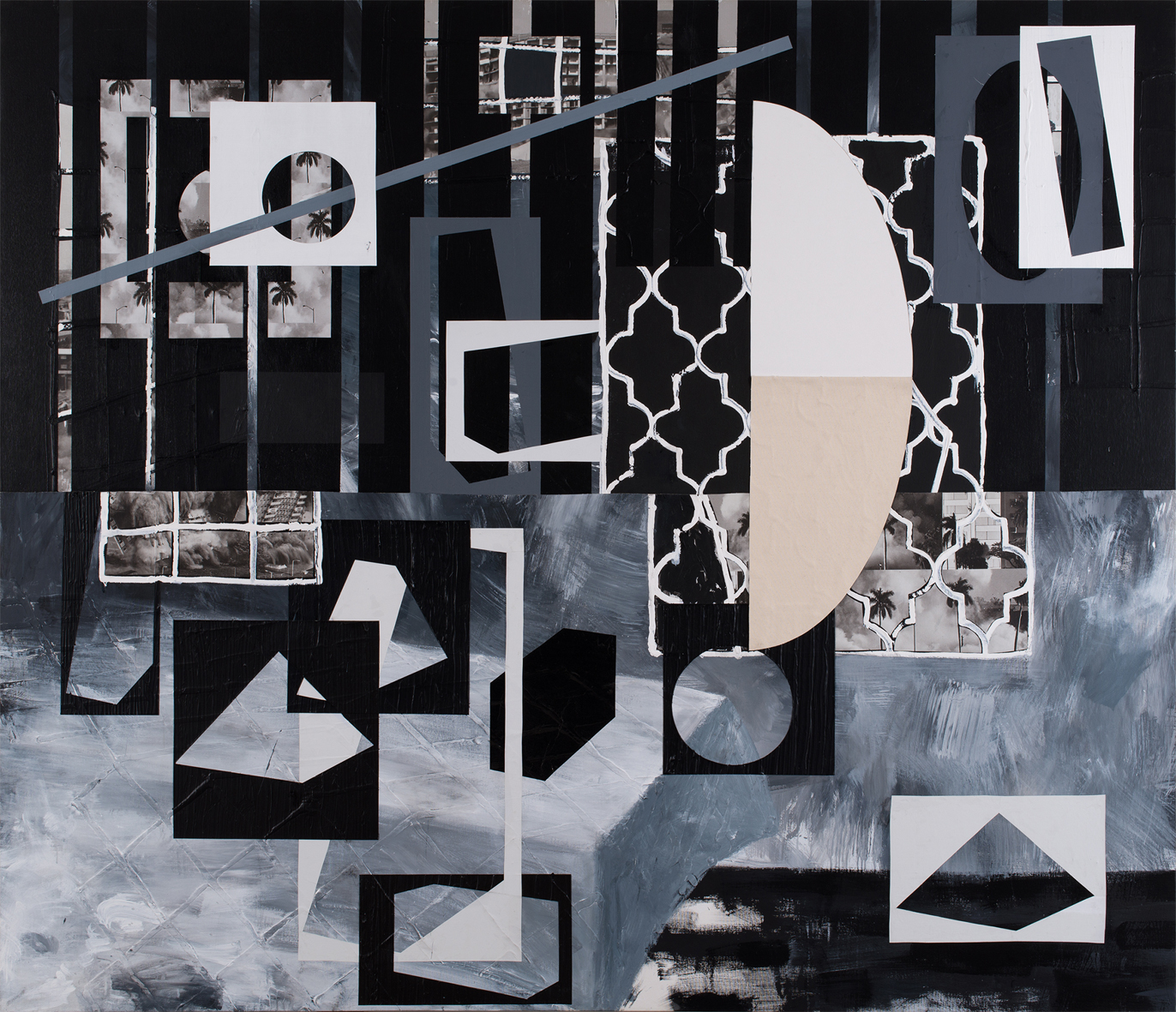 Guy Avital, Saf, 2015, Acrylic and Collage on Canvas, 200x231cm