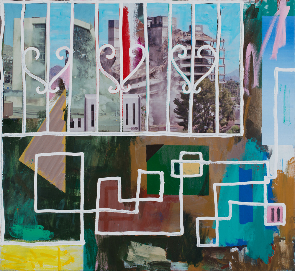 Guy Avital, Window, 2014, Acrylic and Collage on Canvas, 100x109cm
