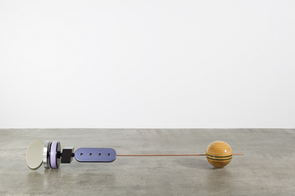 SBMLD4, 2014, Copper coated steel rods and painted MDF, 244x30.5x30.5 cm