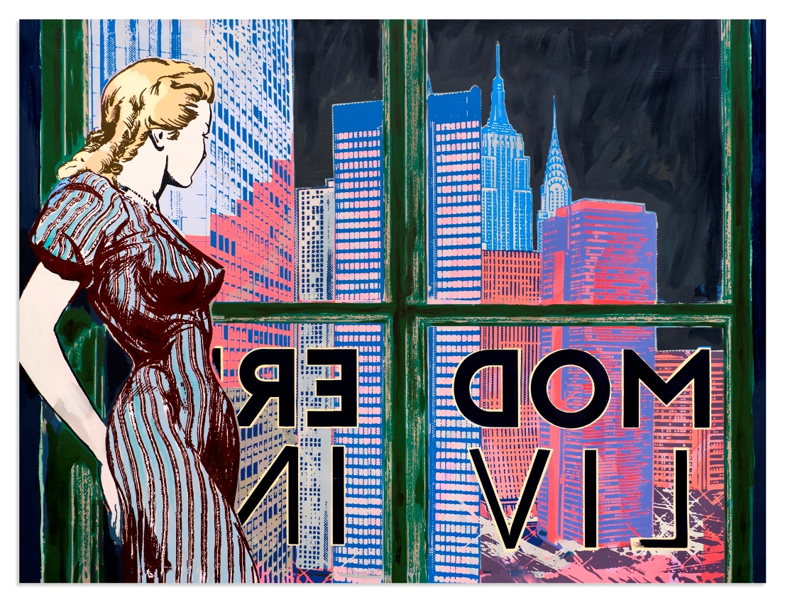 faile-modern-living-2016-acrylic-spraypaint-and-silkscreen-ink-on-canvas-original-variant-of-2-162-5x223x5-cm