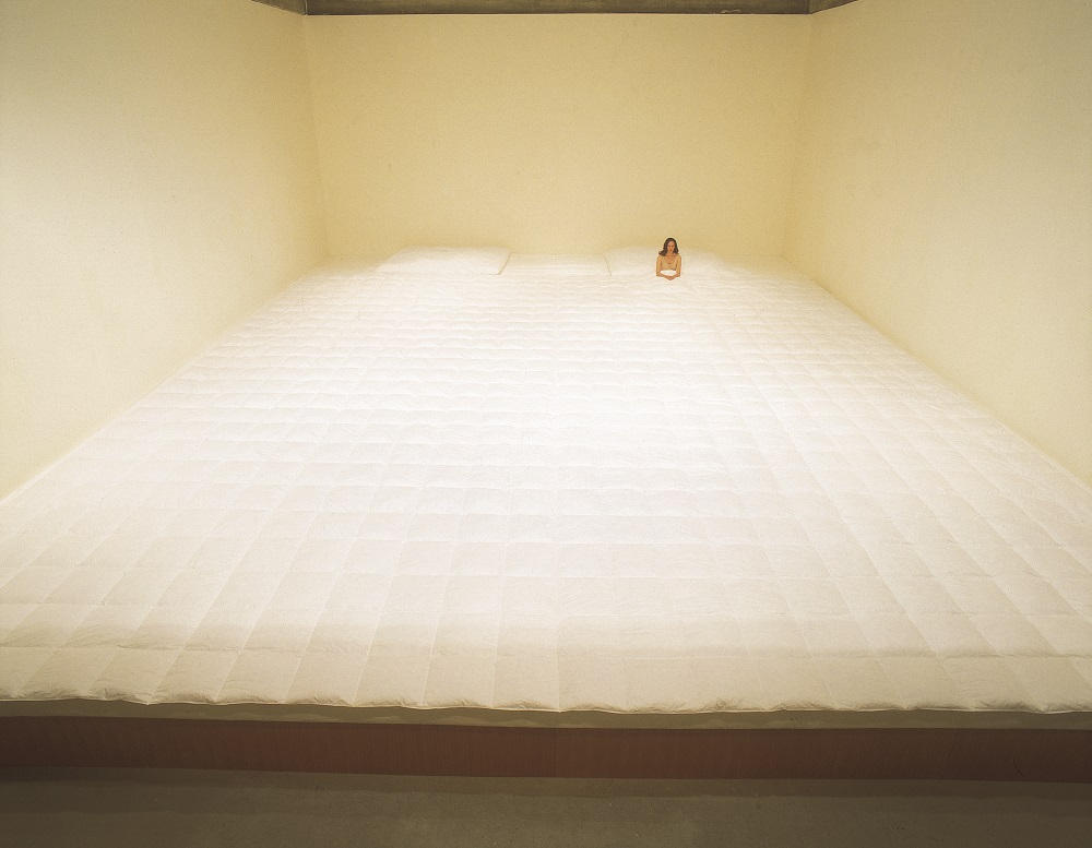 Nelly Agassi, Bedroom, 2005, wood construction, mattresses, quilt.