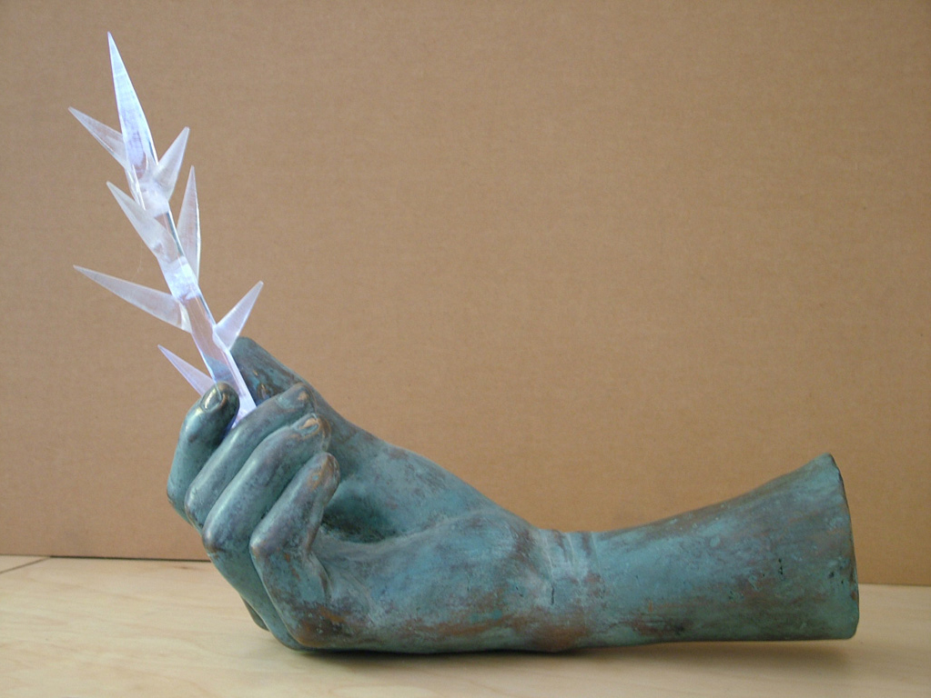 """Thorn"", bronze cast, polyester rods, led lighting, 2008."